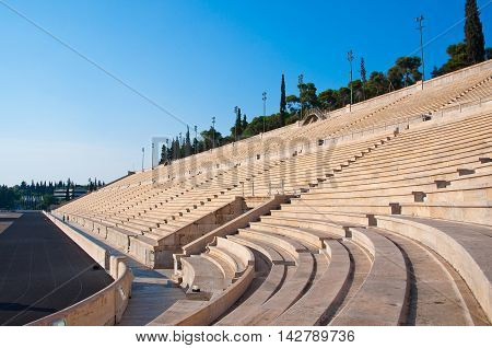 The Panathenaic Stadium in Athens Greece. In the citi centr.