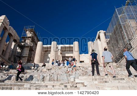 Detail of the Propylaea on July 1 2013 on Acropolis of Athens. Athens Greece.