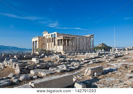 The Erechtheion on Acropolis of Athens. Greece.