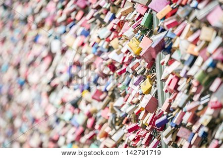 Padlocks on the bridge in Koln Germany