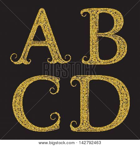 A B C D golden glittering letters. Vintage font with gold halftone effect.