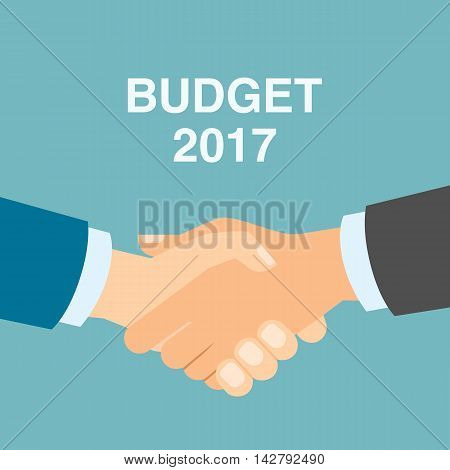 Budget 2017 handshake. Businessmen shaking hands in agreement about budget in 2017. Business strategy in 2017.