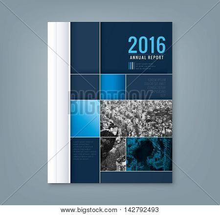 Abstract blue geometric square shape design background template for business annual report book cover brochure flyer poster