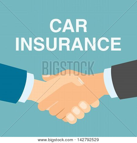 Car insurance handshake. Insurance service, protection and safety guaranteeing.