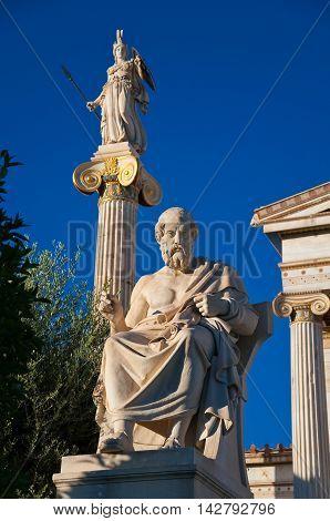The statue of Plato. Athens Greece. In the citi centr.