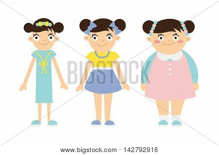 From thin to fat kid. Children obesity and anorexia. Funny smiling cartoon girls on white background. Girl getting fat, gaining weight, getting thin, loosing weight.