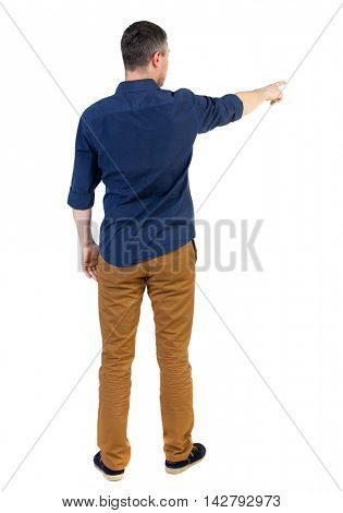 Back view of pointing business man.  Rear view people collection.  backside view of person.  Isolated over white background. a man in a blue shirt with the sleeves rolled up showing the right hand