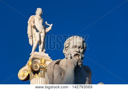 The statue of Socrates. Athens Greece.In the citi down town.