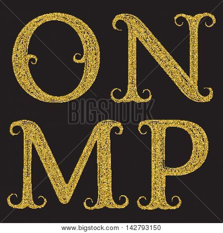 M N O P golden glittering letters. Vintage font with gold halftone effect.