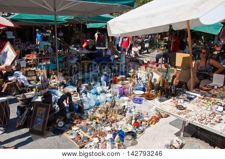 Athens Greece-August 04: Daily flea market in Monastiraki on August 4 2013. Athens Greece.