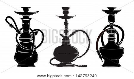 Three hookas silhouettes. Isolated black hookas on white background. Decoration for bar.
