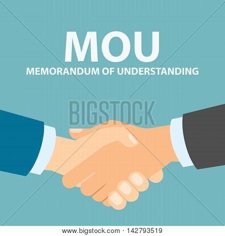 Memorandum of understanding handshake. Agreement in understanding.