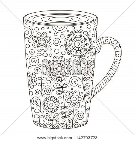 Cup of coffee. Vector hand drawn pot with doodle floral ornament and bubbles. Isolated. Coloring page for adult and children. Outline cup of tea. Black and white colors.