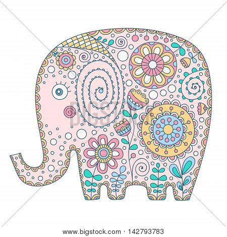 Cute vector elephant. Hand drawn cartoon elephant with floral doodle ornament. Nice bishop for for babies and children. Yellow pink green grey and white colors. Isolated. Doodle animal with flowers and dots.