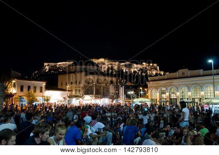 Monastiraki Square at the night on August 4 2013 in Athens Greece.