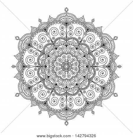Vector hand drawn doodle tribal mandala. Ethnic mandala with ornament and dots. Isolated. Black and white colors. Outline. Coloring page for adult.