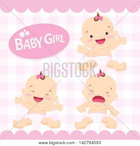 Cute Baby Girl Sitting In A Diaper