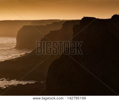 The dramatic and dangerous cliffs of the Gower peninsula in Swansea, South Wales.
