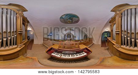 CĂLUGĂRENI, ROMANIA - August 13: 360 panorama from the organist's point of view of the pipe organ in the Catholic Franciscan Saint Stephen's Church on August 13th, 2016, in Mikháza (Călugăreni), Transylvania, Romania.