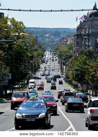 BELGRADE, SERBIA - AUGUST 15, 2016: Street view of downhill road Kneza Milosa in Belgrade