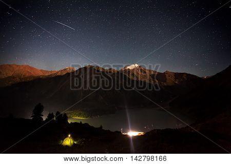 Shooting Star At Mountain Lake