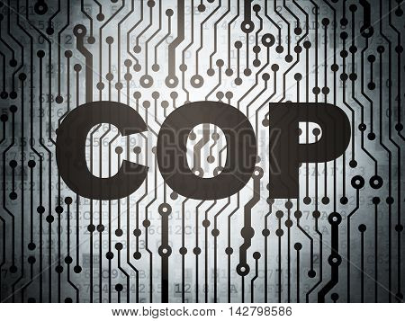 Law concept: circuit board with  word Cop, 3D rendering