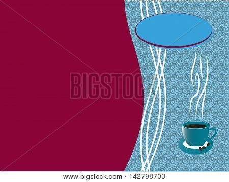 Portada para carta cafetería, azul y magenta