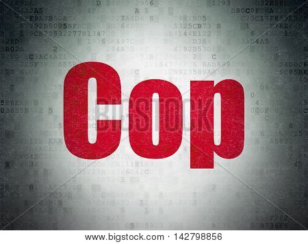 Law concept: Painted red word Cop on Digital Data Paper background