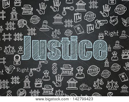 Law concept: Chalk Blue text Justice on School board background with  Hand Drawn Law Icons, School Board