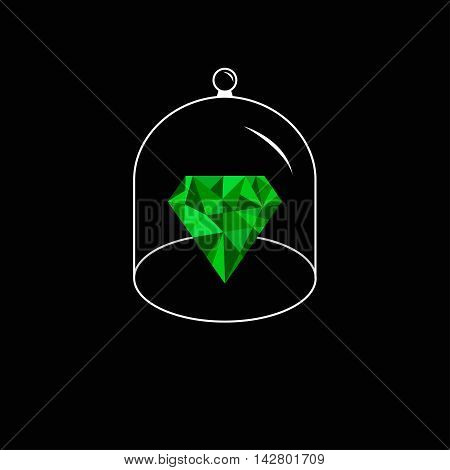 Green polygonal diamond. Glass bell cover cap. Half sphere lid dome with handle. Black background. Vector illustration.