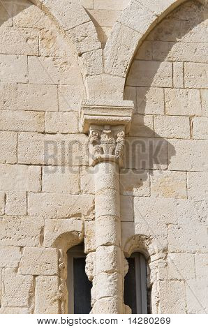 Close up of a marble column. Giovinazzo. Southern Italy. Apulia. poster