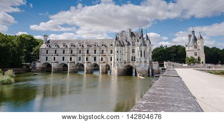 Chenonceaux royal medieval french castle and garden. Chenonceaux Loire Valley France Europe. Unesco heritage site. Built (1513-1521) as a pleasure palace during the Renaissance by several aristocratic women.