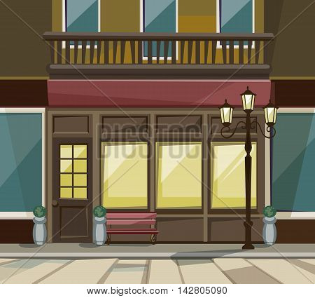 Vector Old European Shop Boutique Museum Restaurant Cafe Store Front with Big Windows, Place for Name, Greenery, Street Lanterns and Paving Stones