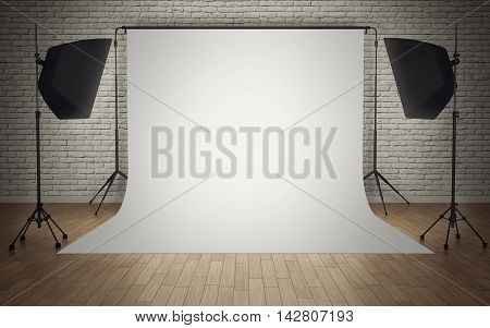 Photo studio equipment with white background. 3d rendering