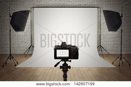 Photo studio light setup with digital camera. 3d rendering