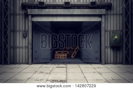 Old warehouse loading dock inside. 3D rendering