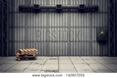 inside of an old empty warehouse. 3D rendering
