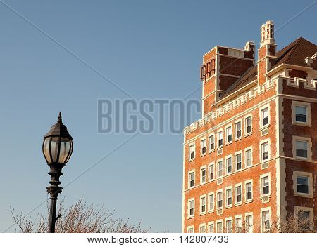 The charming old-fashioned building with streetlight near in Montauk, USA