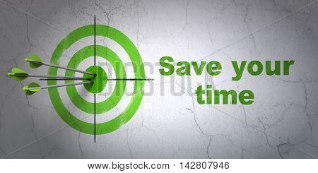 Success timeline concept: arrows hitting the center of target, Green Save Your Time on wall background, 3D rendering