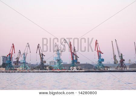 Cranes in Baku port at the evening