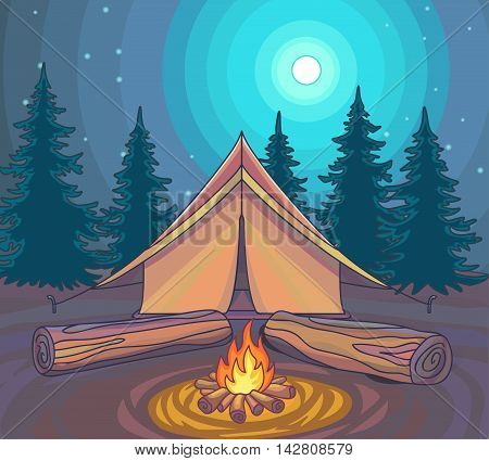 Camping or Hiking, outdoor recreation, adventures in nature. Evening camp. Night Nature Sciene. Cartoon Style. Vector Illustration.