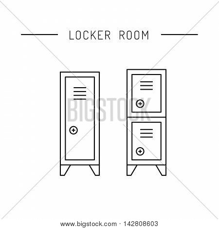 Steel cabinet for locker rooms front view . The security storage.