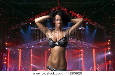 Sexy beautiful lady on the stage