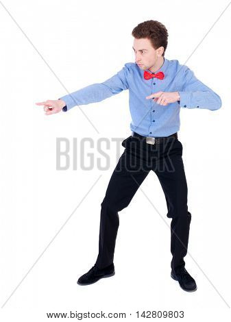 Referee suit and tie butterfly separates boxers. Isolated over white background. the referee instructs hands.