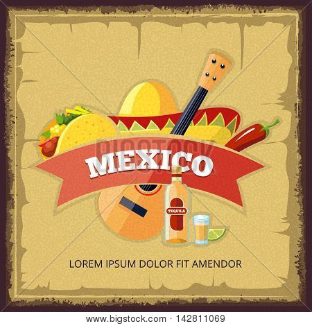Vector vintage poster with mexican food. Tacos, tequila and lime. Illustration for logo or badge design.
