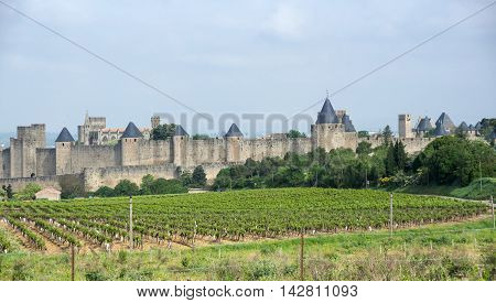 View on Medieval castle of Carcassonne Languedoc-Roussillon France