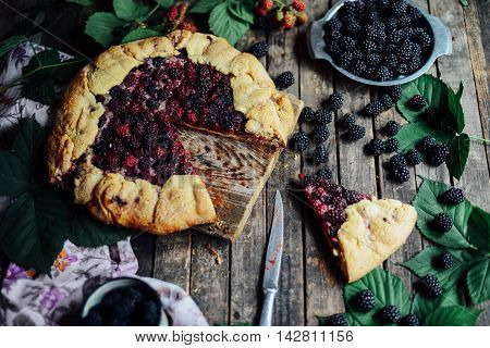 Freshly Baked Berry Pie. Blackberries Pie With A Slice Missing.