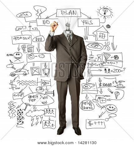 Businessman With Lamp-head And Marker