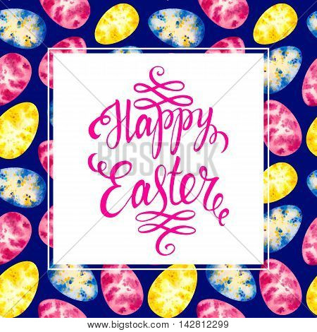 Happy easter card. Easter lettering on seamless pattern watercolor easter egg . Easter vector. Easter holiday. Easter text. Easter background. Easter letter.