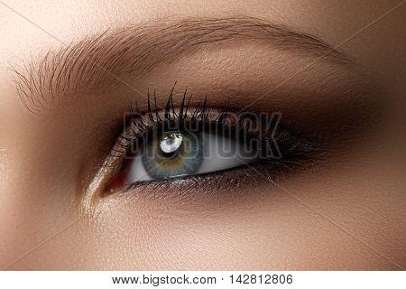Eye Makeup. Beautiful Eyes Make-up. Holiday Makeup Detail. Long